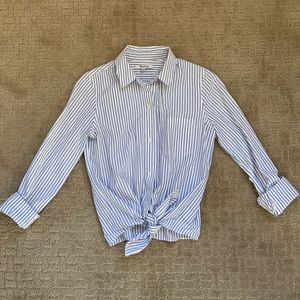 Madewell XXS blue striped tie up button down